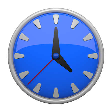 timekeeper: Blue clock icon with 12 lines, plus a minute hand which makes one revolution an hour and an hour hand which makes one revolution in 12 hours like most clocks. Stock Photo
