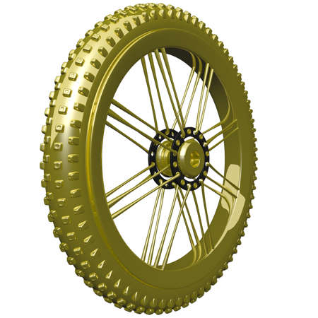 rotating parts: Golden mountain bike tire, such as you might use for a trophy. Stock Photo