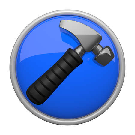 housebuilding: Construction and contracting icon, hammer on blue reflective base.