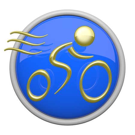 triathlon: Blue bike riding icon, health and fitness symbol. Stock Photo