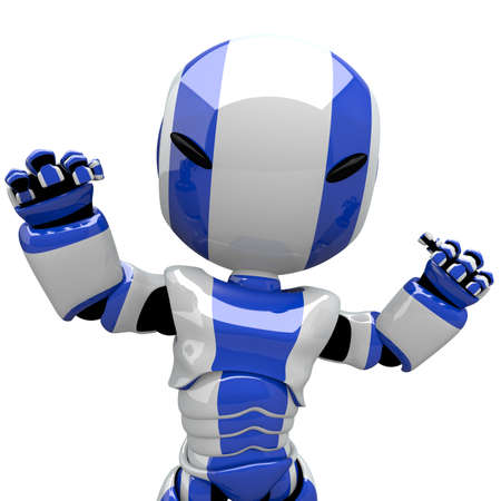 render: Robot flexing muscles or showing that he is angry. Or perhaps he is staring in a kung fu movie.