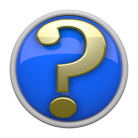 Classy gold and blue question mark icon with reflective backing. photo