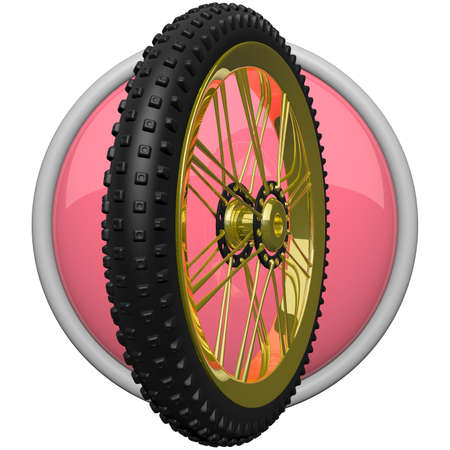 rotating parts: Icon of mountain bike tire, for fitness and sporting concepts.