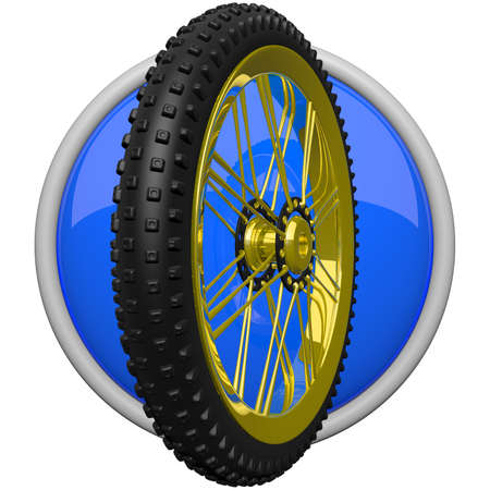 Icon of mountain bike tire, for fitness and sporting concepts.