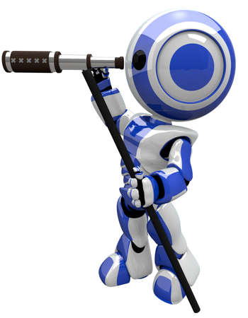 naturalist: Robot with telescope, cute and electronic. He is a scout. Stock Photo
