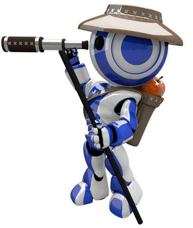 Cute blue robot hiker and explorer. photo