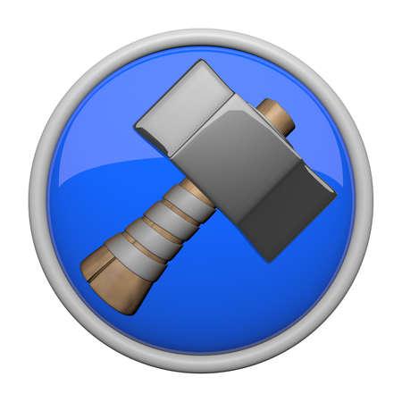 heavy: Heavy old fashioned hammer icon. Stock Photo