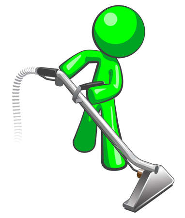 vacuuming: Green man with steam cleaner carpet wand, extracting floor