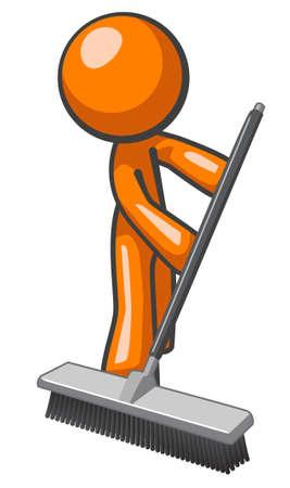 chores: Orange man vegen en het duwen van een bezem Stock Illustratie