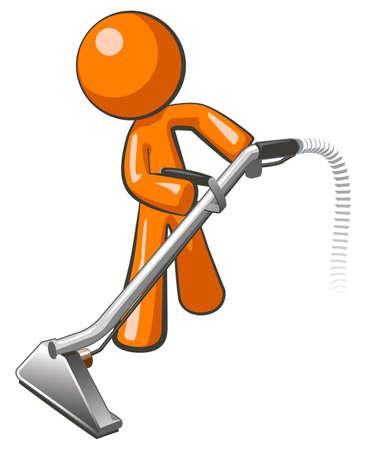 cleaners: Orange man met stoomreiniger tapijt wand, het extraheren van vloer Stock Illustratie