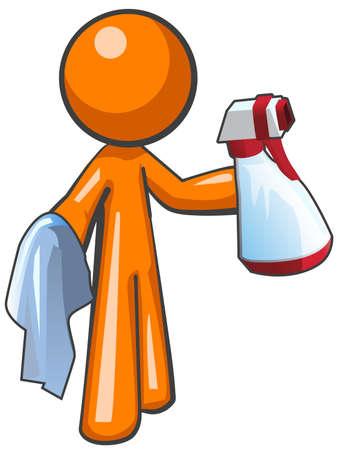 sanificazione: L'uomo arancione con un flacone spray igienico-sanitarie e panno, pronti a lavorare