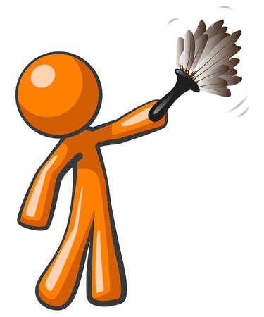 sanificazione: Orange Man in possesso di un piumino, al lavoro per pulire la casa di mantenimento Vettoriali