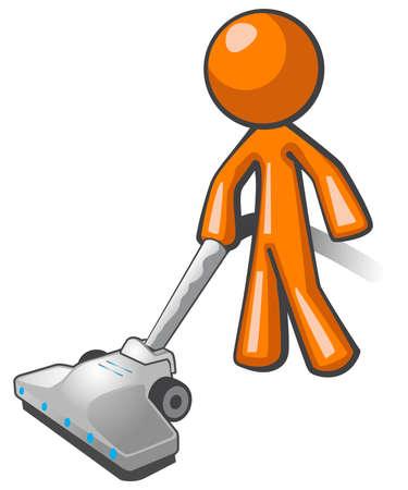limpiadores: Hombre de color naranja pasar la aspiradora y limpiar la casa