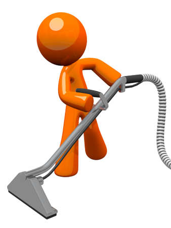 vacuuming: Orange man with steam cleaner carpet wand, extracting floor.