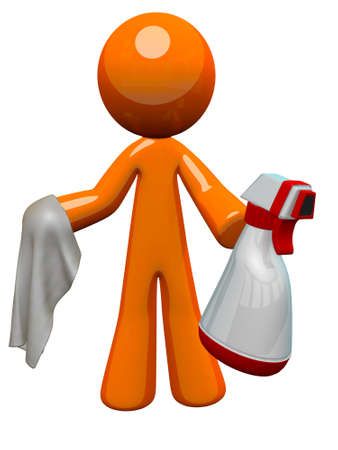 personal de limpieza: El hombre de color naranja con una botella de spray el saneamiento y la tela, listo para trabajar.