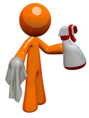 ama de llaves: El hombre de color naranja con una botella de spray el saneamiento y la tela, listo para trabajar.
