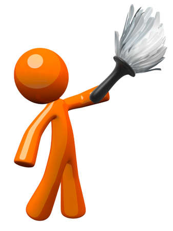 clean hands: Orange man holding a feather duster, working to clean upkeep home. Stock Photo