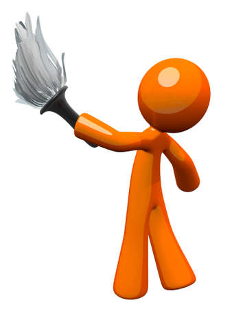 upkeep: Orange man holding a feather duster, working to clean upkeep home. Stock Photo