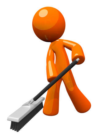 Orange man sweeping and pushing a broom.