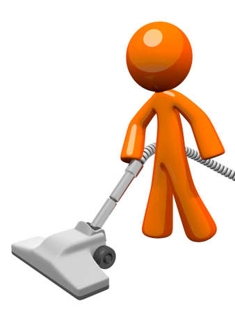 cleanliness: Orange man vacuuming and cleaning house. Stock Photo