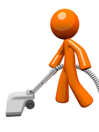 vacuuming: Orange man vacuuming and cleaning house. Stock Photo