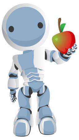 generosity: Blue robot sostiene una manzana apetecible a la audiencia  espectador.
