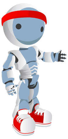 cintillos: Robot azul con zapatos rojos y banda para la cabeza, agitando la mano. Gimnasio concepto.