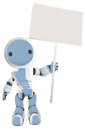 automaton: Blue Robot with a circle on his face holding a blank sign. Very cute. Very professional.