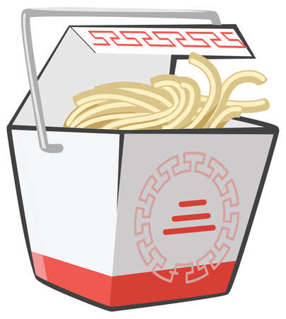 fried noodles: Chinese food doggie bag take-out box, the good kind. Genuine scalable vector noodles.