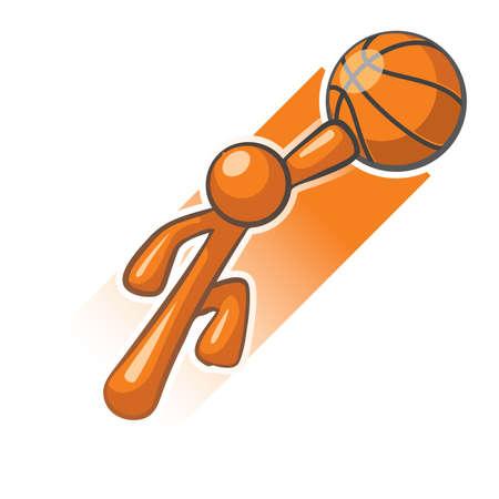 basket: Arancione Man basket eroe slam dunk immagine. Vettoriali