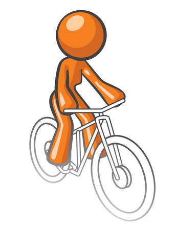 Orange woman riding a bike, simplified image. Vector