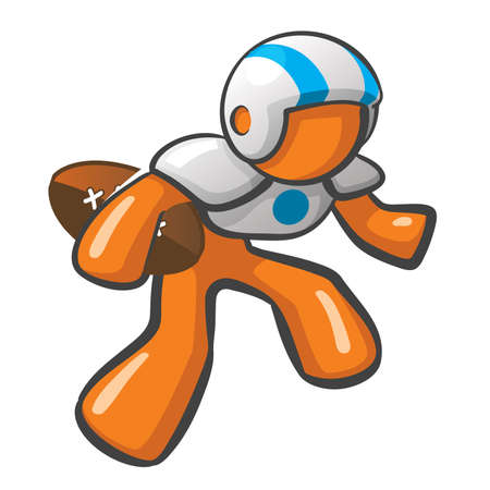 muscular male: Orange Man football player posed to defend. Illustration