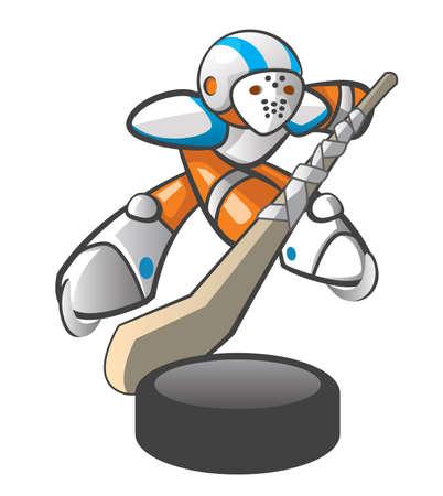 hockey rink: Orange Man jugador de hockey, la acci�n pose.