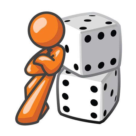 dados: Orange Man apoyado en dados, seguro.