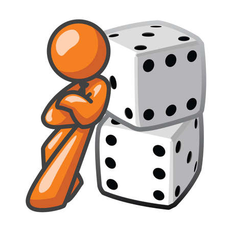 Orange Man leaning against dice, confident.