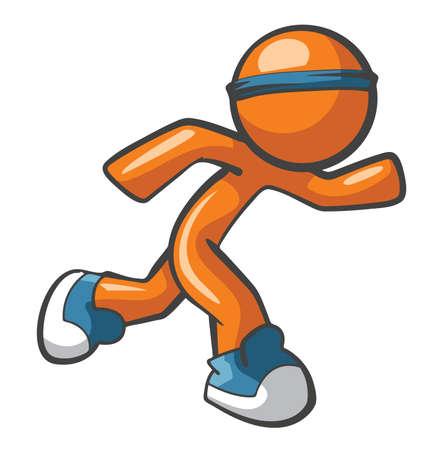 Oranje Man loopt met blauwe schoenen en hoofdband, snel en behendig. Sport en snelle services concept, heel divers.