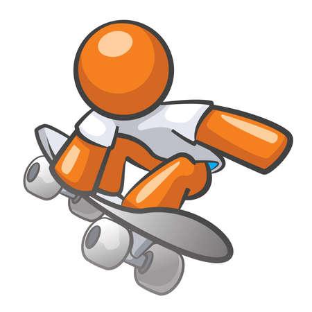patinaje: Pat�n Orange Man subir y hacer trucos.
