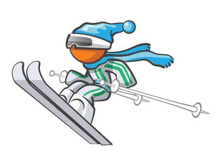 síelő: Orange Man síelés és a nagy ugrás a levegőbe.