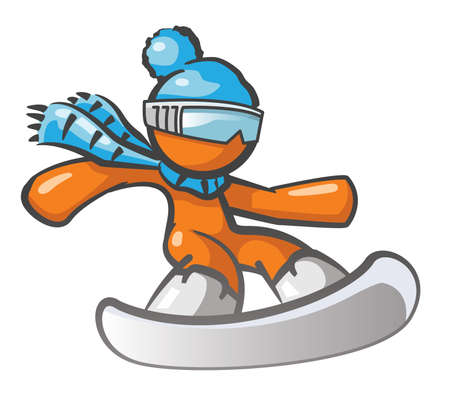 excite: Orange Man snow boarding with blue hat and goggles.