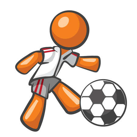 soccer goal: Orange Man playing soccer, kicking a soccer ball.