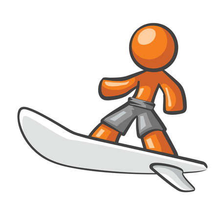 lustrous: Orange Man surfing on a surf board.