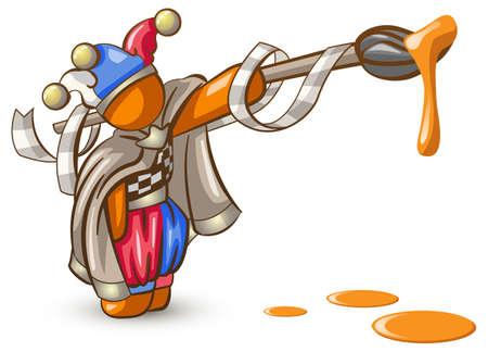 goof: Orange Man joker or jester with orange paint brush, dripping, ready to paint the town orange.