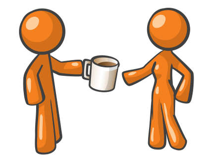 Orange Man offering coffee to woman. Woman is uncertain, but a cup of coffee is never a bad idea. Ilustração
