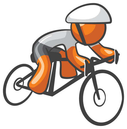 Orange Man bike rider athletic pose, riding with skill and endurance.  Vector