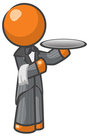 Orange Man butler or house servant Stock Vector - 12803710