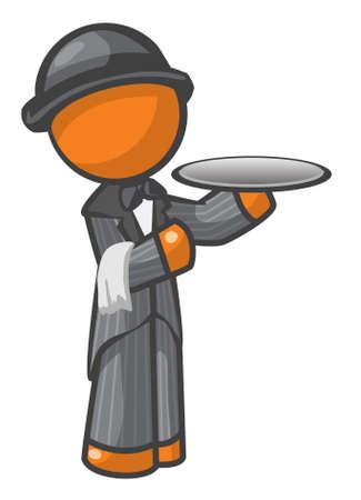 man presenting: Orange Man butler or house servant