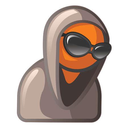 encapuchado: El hombre en busca de Orange tranquila y fr�a, gafas de sol y sudadera con capucha.