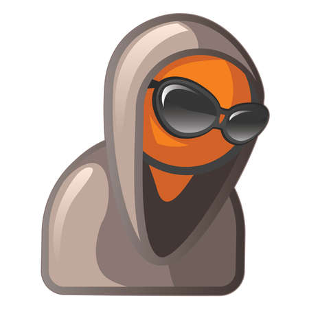 orange man: Orange Man looking cool and mysterious, sunglasses and hoodie. Illustration