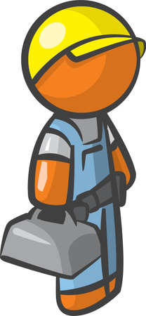 Orange Man Contractor, ready to fix, serve, and maintenance your stuff. Vector