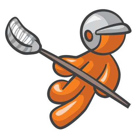 man: Orange Man playing lacross running in action. Illustration